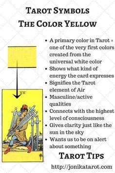 #Tarot #Tips, the color Yellow. http://jonikatarot.com  Learn symbols