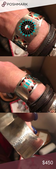 """SS signed Zuni inlay cuff For sale here is a fine vintage 1970s handmade sterling silver cuff bracelet with turquoise black onyx coral and mother of pearl inlay by Zuni artisans Fred and Lolita Natachu. Measures 1-1/4"""" wide at top, and presently will fit up to 6-1/2"""" wrist size, but can be carefully sized up or down by a professional. Marked inside band as shown. Excellent vintage condition with fine light wear and some light tarnish. Can be adjusted very slightly Jewelry Bracelets"""