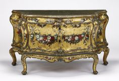 Commode; Unknown; Venice, Veneto, Italy; about 1745 - 1750; Painted, gilt, and silvered oak; 81.6 x 147 x 62.6 cm (32 1/8 x 57 7/8 x 24 5/8 in.); 83.DA.282