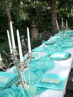 Breakfast at Tiffany's wedding table  # Tiffany Blue Wedding ...... Wedding ideas for brides, grooms, parents & planners ... https://itunes.apple.com/us/app/the-gold-wedding-planner/id498112599?ls=1=8 … plus how to organise an entire wedding ♥ The Gold Wedding Planner iPhone App ♥ http://pinterest.com/groomsandbrides/boards/