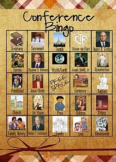 General Conference Bingo, to help kids find gospel themes in the talks. #lds
