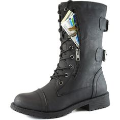 Women's Military Up Buckle Combat Boots Mid Knee High Exclusive Credit Card Money Pocket Pouch, 5