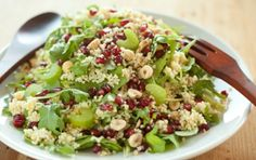 Sub any cooked metabolism-friendly grain for the bulgur in this 5-ingredient Arugula, Pomegranate and Hazelnut Salad. Brown, black or wild rice, quinoa, barley, amaranth ...