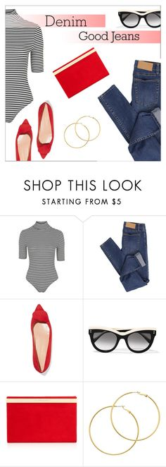 """""""Double Down on Denim"""" by danielle-487 ❤ liked on Polyvore featuring Cheap Monday, Rupert Sanderson, STELLA McCARTNEY, Charlotte Olympia, Melissa Odabash and Denimondenim"""