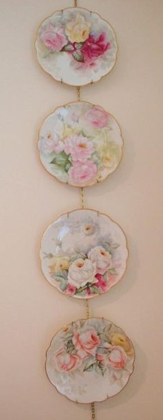 Limoges France Hand Painted Antique French Set of 4 Plates Roses by Gudrun Heike
