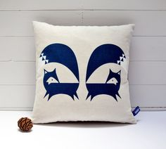 Hand Screen Printed Fox Cushion Cover in French by robinandmould