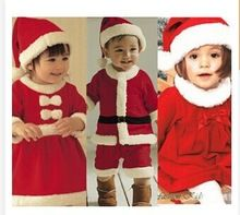 New boys and girls Christmas clothes 2pc sets 2-4 ages free shipping(China (Mainland))