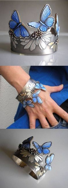 Bracelet by Jolanta Bromke. 930 silver and natural leather, hand painted with water and abrasion resistant paint. http://www.en.olissimart.com/