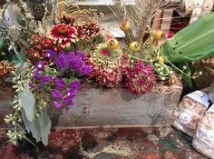 Dried fall flower arrangement