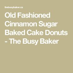 Old Fashioned Cinnamon Sugar Baked Cake Donuts - The Busy Baker