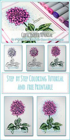 Coloring a Flower Copic Tutorial-     V17, V15, V12     RV04, RV02, RV00     G28, G21, G24     B41     BG000