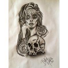 #catrina #tattoo #desenho #rosa #caveira #bussula #beanicoletto #pretoebranco #diadosmortos #mexico
