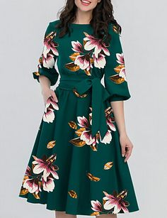 Round Neck Belt Floral Printed Skater Dress Fashion girls, party dresses long dress for short Women, casual summer outfit ideas, party dresses Fashion Trends, Latest Fashion # Women's Dresses, Women's Fashion Dresses, Cute Dresses, Dress Outfits, Casual Dresses, Cheap Dresses, Floral Dresses, Skater Dresses, Sleeve Dresses
