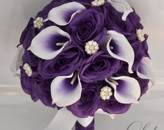 17 piece package wedding bridal bouquet silk flowers bouquets bride jewels real touch picasso calla lily purple white lily of angeles Purple Wedding Cakes, Purple Wedding Flowers, Wedding Colors, Gold Wedding, Royal Purple Wedding, Bridal Flowers, Purple Roses, Wedding Reception, Lily Bouquet Wedding