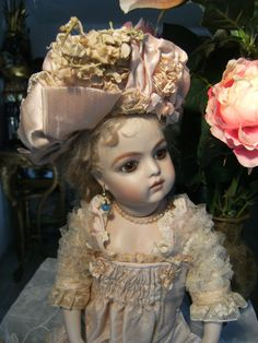 "GORGEOUS ANTIQUE FRENCH DRESS+ HAT fOR A 13.5""/34cm DOLL/JUMEAU BRU STEINER   eBay"