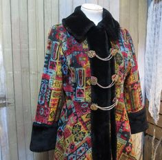 Vintage 60s Tapestry Coat Russian Princess Mini fit and flare,  by funkomavintage