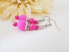 Bright Pink Earrings, Hot Pink Earrings, Bubblegum Pink, Pink Glass Jewelry, Pink Pearl Earrings, Magenta Earrings, Vintage Pink Earrings