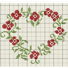 Red roses, cross stitch pattern in heart Wedding Cross Stitch Patterns, Counted Cross Stitch Patterns, Cross Stitch Designs, Cross Stitch Embroidery, Embroidery Patterns, Cross Stitch Boards, Cross Stitch Heart, Cross Stitch Flowers, Cross Stitching