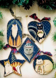 Five Cats of Christmas - Ornament or Gift Tag E-Pattern by Donna Atkins