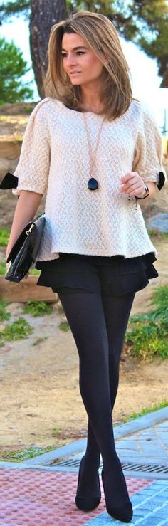 black and white layering, tights and booties!