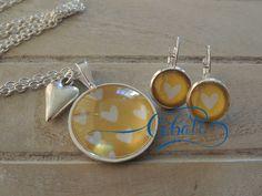 Cobalt Yellow hearts glass pendant / earring set