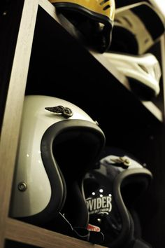 Helmets on a rack  www.allsporthelmets.com  - sport helmets for men women and children