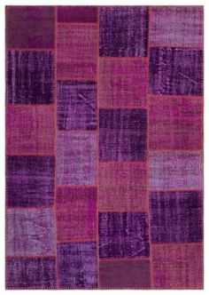 Purple Over Dyed Patchwork Unique Rug 5'3'' x 7'7'' ft 160 x 230 cm