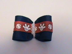 Blue and Baseball Boy Dog Hair Bow with Pearls by ThereseHairBows, $2.99