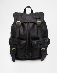 ASOS Backpack In Black Faux Leather With Straps