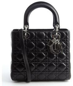 Christian Dior black quilted lambskin 'Lady Dior' medium convertible tote bag on shopstyle.com