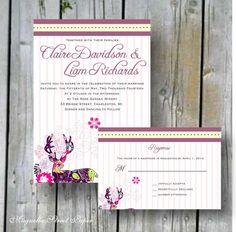 Deer Antler Wedding Invitations, Custom Printable, DIY Wedding, Includes RSVP, Rustic Wedding, Wedding Suite, floral deer, template