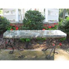 Solid jade bench with iron legs #garden #bench #stone