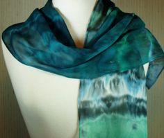 Women's Shibori Scarf Silk Chiffon Teal Blue by FlingamoScarves, $45.00
