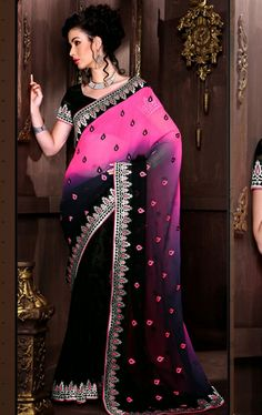 Picture of Appealing Black and Pink Party Wear Saree Online