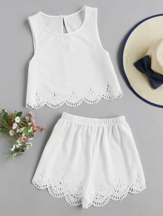 Laser Cut Crop Tank Top And Shorts Set 2 piece romper wedding clothes attire Girl Outfits, Casual Outfits, Fashion Outfits, Teen Fashion, Womens Fashion, Two Piece Outfit, Cute Summer Outfits, Mode Inspiration, Dress To Impress