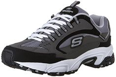cool Skechers Sport Men's Stamina Nuovo Lace-Up Sneaker,Charcoal/Black,11 XW US