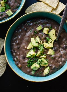 This healthy black bean soup recipe is easy to make with canned beans. It's absolutely delicious and naturally vegan, vegetarian and gluten free!