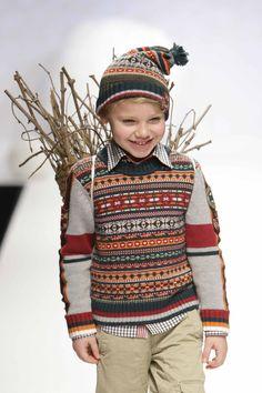 Sarabanda fairisle knit and check shirt combination for boys kidswear winter 2010