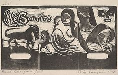 'Le Sourire' (1899) by French artist Paul Gauguin (1848-1903). Woodcut on China paper, 10.75 x 16.625 in. via the Met, NYC