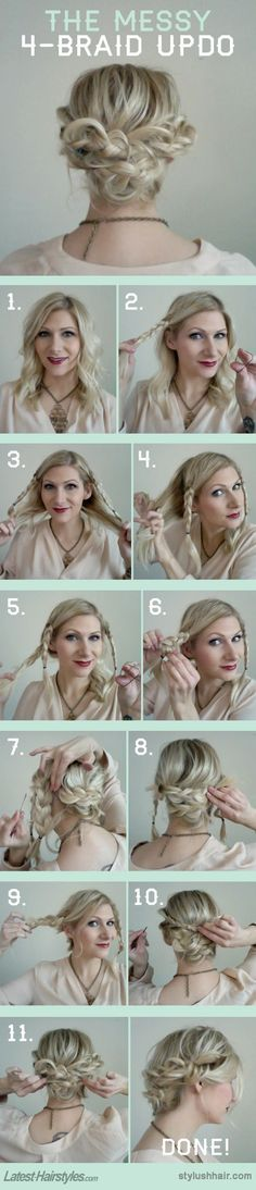 """""""How To: The Messy 4 Braid Updo"""" This requires more product than I generally use, but I really like it. I'm thinking I might give it a go for a formal event I'm going to this weekend, assuming I can find a chance to try it once or twice first!:"""