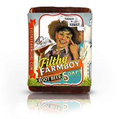 "Filthy Farmboy Rootbeer Soap -   ""You can dunk me in the Tub, but you can't make me scrub!""    100% Natural Ingredients:  Saponified Coconut oil, Saponified Palm oil, Saponified Castor oil, Saponified Safflower oil, Kosher Vegetable Glycerin, Purified Water, Sarsparilla, Licorice Root, Anise Essential Oil, Ginger, Cinnamon Essential Oil, Clove Essential Oil, Birch Essential Oil, Vanilla Extract, Sorbital, Sorbitan oleate, Soy protein."