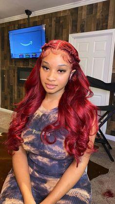 Sew In Hairstyles, Black Girl Braided Hairstyles, Frontal Hairstyles, Baddie Hairstyles, Straight Hairstyles, Ethnic Hairstyles, Hair Ponytail Styles, Curly Hair Styles, Burgundy Hair Black Girl
