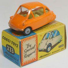 Corgi diecast model Heinkel Bubble Car in Orange with Spoked Wheels, complete with original box