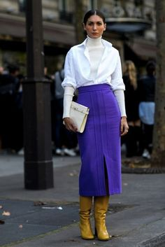 Swoon: royal purple midi pencil skirt with mustard boots