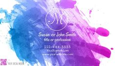 Customize this design with your video, photos and text. Easy to use online tools with thousands of stock photos, clipart and effects. Free downloads, great for printing and sharing online. Business Card. Tags: artistic business card, modem unique business card, monogram, paint splash, purple blue pink, Small Business Flyers, Business Cards , Business Cards