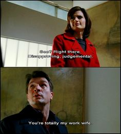 Beckett: See? Right there. Disapproving, judgemental. Castle: You're totally my work wife. Castle TV show quotes