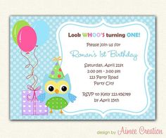 Owl First Birthday Invitations PRINTABLE DIY (for boys/girls) with balloons