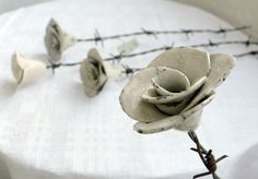 Barbed wire rose by ValonaDesign on Etsy, Barbed Wire, Porcelain Ceramics, Sculptures, Place Card Holders, Iron, Romantic, Design, Etsy, Decor