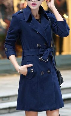 Double Button Turn-down Collar Thick OL Style Slim Coat