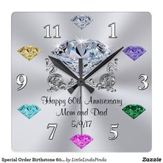 Birthstone Clocks With YOUR TEXT And Childrens BIRTHSTONE Images Change The Message To Happy